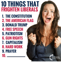 Donald Trump, Memes, and Work: 10 THINGS THAT  FRIGHTEN LIBERALS  1. THE CONSTITUTION  2. THE AMERICAN FLAG  3. DONALD TRUMP  4. FREE SPEECH  5. PATRIOTISM  6. GUN RIGHTS  7. CAPITALISM  8. HARD WORK  9. PRAYER  10  TURNING  POINT USA What's #10?? #BigGovSucks