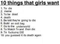 You Guessed It: 10 things that girls want  1. To die  2. meme  3. To be dead  4. death  5. Be told they're going to die  6. Build an exit bag  7. Go to the underworld  8. To Watch Tv and then die  9. To fuckuing DIBE  10. you guessed it its death again