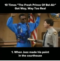"""Fresh, Fresh Prince of Bel-Air, and Memes: 10 Times""""The Fresh Prince Of Bel-Air""""  Got Way, Way Too Real  1. When Jazz made his point  in the courthouse Missing these shows memories tv freshprince 90s Repost @alnansa @iamlegendthereturn"""