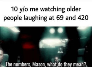 me irl: 10 y/o me watching older  people laughing at 69 and 420  The numbers, Mason, what do they mean? me irl