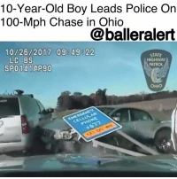10-Year-Old Boy Leads Police On 100-Mph Chase in Ohio - blogged by @baetoven_ ⠀⠀⠀⠀⠀⠀⠀ ⠀⠀⠀⠀⠀⠀⠀ On Thursday, a 10-year-old boy led police on a high-speed pursuit on the Ohio Turnpike. ⠀⠀⠀⠀⠀⠀⠀ ⠀⠀⠀⠀⠀⠀⠀ The chase began around 8:30 a.m. The boy had been waiting on his sister to take him to school when he decided to take the car keys and leave while she was in the bathroom. ⠀⠀⠀⠀⠀⠀⠀ ⠀⠀⠀⠀⠀⠀⠀ After seeing the boy's car swerving through traffic and nearly running several cars off the road, a man called 911. He also reported a woman, the boy's mother, trailing him in a red SUV. ⠀⠀⠀⠀⠀⠀⠀ ⠀⠀⠀⠀⠀⠀⠀ When police tried to stop the boy, he shook his head and sped up. The pursuit didn't end until around 9:45 a.m. when he was boxed in by officers while trying to avoid spikes on the road. ⠀⠀⠀⠀⠀⠀⠀ ⠀⠀⠀⠀⠀⠀⠀ According to News5, a local ABC affiliate, the boy kicked and spat on officers as he was being arrested. Police also added that it was the second time the boy went joyriding in two weeks. ⠀⠀⠀⠀⠀⠀⠀ ⠀⠀⠀⠀⠀⠀⠀ The boy has been charged with felony fleeing and eluding. A hearing to determine if he will remain in a juvenile detention center is scheduled for Friday.: 10-Year-Old Boy Leads Police On  100-Mph Chase in Ohio  @balleralert  10/26/2017 098 49822  STATE  HIGHWAY  PATROL  LC BS  OHIO 10-Year-Old Boy Leads Police On 100-Mph Chase in Ohio - blogged by @baetoven_ ⠀⠀⠀⠀⠀⠀⠀ ⠀⠀⠀⠀⠀⠀⠀ On Thursday, a 10-year-old boy led police on a high-speed pursuit on the Ohio Turnpike. ⠀⠀⠀⠀⠀⠀⠀ ⠀⠀⠀⠀⠀⠀⠀ The chase began around 8:30 a.m. The boy had been waiting on his sister to take him to school when he decided to take the car keys and leave while she was in the bathroom. ⠀⠀⠀⠀⠀⠀⠀ ⠀⠀⠀⠀⠀⠀⠀ After seeing the boy's car swerving through traffic and nearly running several cars off the road, a man called 911. He also reported a woman, the boy's mother, trailing him in a red SUV. ⠀⠀⠀⠀⠀⠀⠀ ⠀⠀⠀⠀⠀⠀⠀ When police tried to stop the boy, he shook his head and sped up. The pursuit didn't end until around 9:45 a.m. when he was boxed i