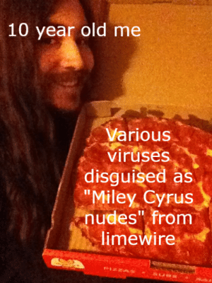 """Drunk, Miley Cyrus, and Nudes: 10 year old me  Various  viruses  disguised as  """"Miley Cyrus  nudes"""" from  limewire Me, drunk as hell at midnight decided this was a good investment to make. Did I choose wisely?"""