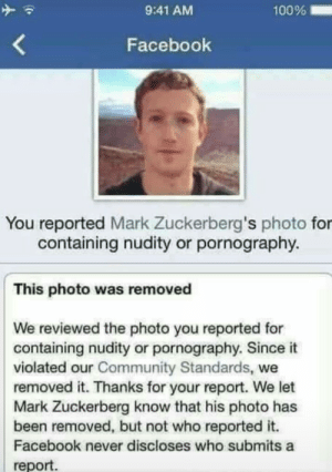 Community, Facebook, and Mark Zuckerberg: 100%  9:41 AM  Facebook  You reported Mark Zuckerberg's photo for  containing nudity or pornography.  This photo was removed  We reviewed the photo you reported for  containing nudity or pornography. Since it  violated our Community Standards, we  removed it. Thanks for your report. We let  Mark Zuckerberg know that his photo has  been removed, but not who reported it.  Facebook never discloses who submits a  report. wait what