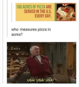 I love this country by Trollalola MORE MEMES: 100 ACRES OF PIZZA ARE  SERVED IN THE U.S  EVERY DAY  who measures pizza in  acres?  USA! USA! USA! I love this country by Trollalola MORE MEMES