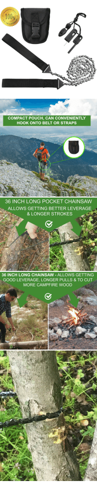 "Anaconda, Fire, and Tumblr: 100%  CARAN   COMPACT POUCH, CAN CONVENIENTLY  HOOK ONTO BELT OR STRAPS   36 INCH LONG POCKET CHAINSAW  ALLOWS GETTING BETTER LEVERAGE  & LONGER STROKES   36 INCH LONG CHAINSAW - ALLOWS GETTING  GOOD LEVERAGE, LONGER PULLS & TO CUT  MORE CAMPFIRE WOOD <p><a href=""https://novelty-gift-ideas.tumblr.com/post/160564446093/sumpri-camping-pocket-chainsaw-fire-starter-kit"" class=""tumblr_blog"">novelty-gift-ideas</a>:</p><blockquote><p><b><a href=""http://pint-sumpricampingkit.gr8.com/"">  SUMPRI Camping Pocket Chainsaw &amp; Fire Starter Kit  </a></b></p></blockquote>"