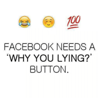 "Why You Lying: 100  FACEBOOK NEEDS A  ""WHY YOU LYING?""  BUTTON"