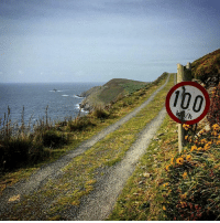 Memes, Photoshop, and Mad: 100  /h I always thought this sign was knocked up with some Photoshop wizardry but no, you'll actually find it standing proud on Dursey Island off the Coast of West Cork - a mad aul place