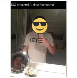 me irl: 100 likes and I'll do a face reveal me irl