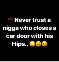 Anaconda, Dank Memes, and Never: 100  Never trust a  nigga who closes a  car door with his  Hips.. 🙅🏾‍♂️