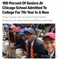 """For the seventh consecutive year, Urban Prep Charter Academy is keeping it one hundred. 💯 Every senior at the predominantly black, all-boys charter school in Chicago has committed to a four-year college or university. At the school's three campuses combined, the class of 2016 has been admitted to more than 220 schools. """"It's a great day,"""" Rudolph Long, who's attending Hampton University, told CBS Chicago on Urban Prep's college signing day on Tuesday. """"I feel great. We all made it. We all come from good environments so to see us all going to college is nice."""" Overall, the senior class has received more than 1,500 college admissions and has been offered more than $15 million in scholarships and grants, according to CBS Chicago. Founder and CEO of Urban Prep Tim King said the students have been admitted to schools all over the country, including Georgetown University, Yale University, Morehouse College, among other schools. King tweeted a photo of some of the seniors at signing day.Since 2010, every senior class has had 100 percent of their students admitted to college, the school's website says. The school's motto is """"We Believe,"""" which serves as a reminder """"that Urban Prep students will not fall into the trap of negative stereotypes and low expectations,"""" the school's website says. """"Every year, I'm just wowed by these young men, by what they are doing,"""" King told CBS Chicago. """"We started Urban Prep with the goal of moving the needle when it comes to black male achievement and these guys proved to me, the city and the world every year, that we did the right thing when we founded Urban Prep ten years ago."""" Bravo to these young men! 17thsoulja BlackIG17th blackexcellenceineducation📚: 100 Percent of Seniors At  Chicago School Admitted To  College For 7th Year In A Row  These young men at Urban Prep Charter  Academy are what black excellence looks like.  MU.  @17th Soulja For the seventh consecutive year, Urban Prep Charter Academy is keeping it one hundred. 💯 Every seni"""