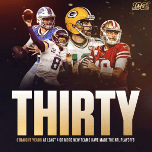 In this league, ANY season can be YOUR season. 🏈🙌 https://t.co/TBPowdppTv: 100  VIKINGS  49SBE  THIRTY  STRAIGHT YEARS AT LEAST 4 OR MORE NEW TEAMS HAVE MADE THE NFL PLAYOFFS In this league, ANY season can be YOUR season. 🏈🙌 https://t.co/TBPowdppTv