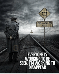 LIKE if you can relate ❤️ - TheSuccessClub: 1000.000,000.000  MILES  TheSuccessCub  EVERYONE IS  WORKING TO BE  SEEN. IM WORKING TO  DISAPPEAR LIKE if you can relate ❤️ - TheSuccessClub