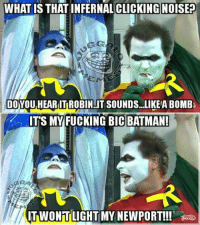 The twiztid batman vid was the shit!!! Now there's a batman movie I'd pay to see!! lol  -M: WHAT IS THAT INFERNAL CLICKING NOISE?  EMS  DOYOU HEARITROBIN IT SOUNDS. LIKEABOMB  ITS MY FUCKING BIC BATMAN!  TWONTLIGHT MY NEWPORT!!! The twiztid batman vid was the shit!!! Now there's a batman movie I'd pay to see!! lol  -M