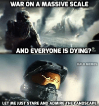 Let us kick off the Halo 5 E3 memes with this! Numerous more jokes to come... -Chris: WAR ON A MASSIVE SCALE  AND EVERYONE IS DYING?  HALO MEMES  LET ME JUST STARE AND ADMIREITHE LANDSCAPE Let us kick off the Halo 5 E3 memes with this! Numerous more jokes to come... -Chris