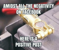 Facebook Post: AMIDST ALLTHE NEGATIVITY  ON FACEBOOK  HERE IS A  POSITIVE POST
