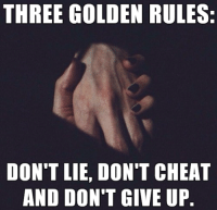 Cheater Meme: THREE GOLDEN RULES:  DON'T LIE, DON'T CHEAT  AND DON'T GIVE UP.