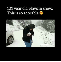 """""""If you want to live 100 years, you should find pure joy in the simple things"""". 🙏 Credit: Armand Foisy / Facebook: 101 year old plays in snow.  This is so adorable """"If you want to live 100 years, you should find pure joy in the simple things"""". 🙏 Credit: Armand Foisy / Facebook"""