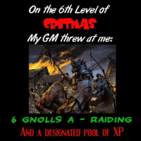 Hungry, Zombies, and Pool: On 6th Levelof  GM threw me:  at 6 GNOLLS A  RAIDINS  AND A DESIGNATED POOL of XP 1 Hungry Orc, 2 Zombies Shuffling, 3 Bugbears, 4 Hellish Hounds, 5 Summoning Rings...... #12daysofcritmas -Law
