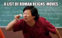 Roman Reigns: A LIST OF ROMAN REIGNS MOVES