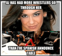 In Spanish: AJ HAS HAD MORE WIRESTLERSGO  THROUGH HER  THAN THE SPANISH ANNOUNCE  TABLE