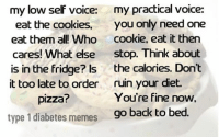 I was explaining to my boyfriend how when I am low it is like my low self and my practical self are having an argument.  Does anyone else feel this way? Created by Kayla: my low self voice: my practical voice:  eat the cookies.  you only need one  eat them all! Who cookie, eat it then  cares! What else  stop. Think about  is in the fridge? Is the calories. Don't  it too late to order  ruin your diet.  You're fine now,  pizza?  type 1 diabetes memes  go back to bed I was explaining to my boyfriend how when I am low it is like my low self and my practical self are having an argument.  Does anyone else feel this way? Created by Kayla