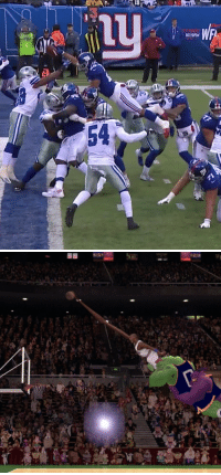 Saquon Barkley just went full Space Jam for a touchdown https://t.co/R8YbjDS8mG: 1019FM  12  54 Saquon Barkley just went full Space Jam for a touchdown https://t.co/R8YbjDS8mG