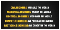 """Computers, Run, and Computer: CIVIL ENGINEERS: WE BUILD THE WORLD  MECHANICAL ENGINEERS  WE RUN THE WORLD  ELECTRICAL ENGINEERS  WE POWER THE WORLD  COMPUTER ENGINEERS:  WE PROGRAM THE WORLD  ELECTRONICS ENGINEERS  WE GADGETIZE THE WORLD What do you want to do? Just 8 days left to order our """"Without Engineers, Science is just a philosophy"""" shirt and hoodie design! We already have over 160 orders so get one before it's too late! Order at https://teespring.com/appliedengineering"""