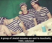 103  103  A group of Jewish inmates are sent to Auschwitz,  1943, colorized via I make memes for living