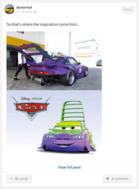 Cars, Funny, and Pixar: Daniel Ha  o 18 hours ago  So that's where the inspiration came fr  acre  PIXAR  View full post  a 41 points  Funny  0 comments When you let your kid choose your new mod... Car Throttle App