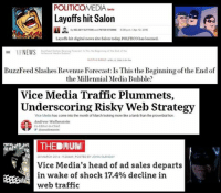cnn.com, Fire, and God: POLITICOMEDIA tete  Layoffs hit Salon  By KELSEY SUTTON and PETER STERNE  6:38 pm IApr 12. 2016  Layoffs hit digital news site Salon today, POLITICO has learned.  NEWS  Forecast Thia the Beginning of End of the  Millennial Medio Bubble  BuzzFeed Slashes Revenue Forecast: Is This the Beginning of the End of  the Millennial Media Bubble?  Vice Media Traffic Plummets,  Underscoring Risky Web Strategy  Vice Media has come into the month of March looking more like a lamb than the proverbial lion.  Andrew Wallenstein  Co-Editor-in-Chief  THEDINUIM  28 MARCH 2016 -9:28AM POSTED BY JOHN GLENDAY  Vice Media's head of ad sales departs  in wake of shock 17,4% decline in  web traffic Merciful God above, thank you.  http://www.mediaite.com/…/salon-goes-on-firing-spree-inclu…/ http://money.cnn.com/…/12/media/buzzfeed-missed-projections/ http://variety.com/…/news/vice-media-richard-beckman-12017…/