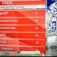 Soccer, United, and Leed: Leeds  Fixtures  uddersfield  Rotherham  QPR  Hull  Charlton  UNIL ADF 0 0 TBALL Even the fixture list is laughing at Leeds United.