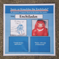 "For the love of God someone please help me: Sanic or Knuckles the Enchilada?  Be informed. Compare them on the issues that matter.  Enchiladas  Issue:  Cotta  fa t  ""I must eat at a  ""Beefy, with side  rapid pace.""  of Emerowds. For the love of God someone please help me"