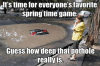 I want to play a game... Car Throttle App: It's time for everyone's favorite  springtime game.  Guess how  deepthat pothole  really is. I want to play a game... Car Throttle App