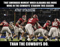 THAT AWKWARD MOMENT WHEN ALABAMA HAS MORE  WINSIN THE COWBOYS' STADIUM THIS SEASON  AT&T STADIUM  @NFL MEMES  ESS  THAN THE COWBOYS DO. The Crimson Tide more of Dem Boys than the Cowboys are
