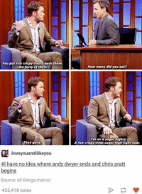 Chris Pratt: You put rice crispy treats back there.  How many did you eat?  Like forty of them.  I'm on a sugar high2R  They gone  A rice crispy treat sugar high right now.  iloveyouandilikeyou  #I have no idea where andy dwyer ends and chris pratt  begins  Source: all things marvel  455,418 notes
