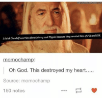 Gandalf, God, and Moms: otrconfessions tumblr com  I think Gandalf worries about Merry and Pippin because they remind him of Filiand Kili.  momochamp:  Oh God. This destroyed my heart.....  Source: mom ochamp  150 notes