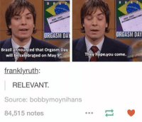 Orgasm: B R A  ORGASM  ORGASM DAY  DA  Brazil announced that orgasm Day  They hope you come.  will be celebrated on May 9th.  franklyruth  RELEVANT  Source: bobbymoynihans  84,515 notes