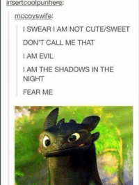 insertCoolpunhere  mccoyswife:  I SWEAR I AM NOT CUTE/SWEET  DON'T CALL ME THAT  I AM EVIL  I AM THE SHADOWS IN THE  NIGHT  FEAR ME