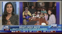 """Friends, Mlb, and News: NEWS  LIVE  FOX  BELLE'S BOLD MOVE  friends  REALITY STAR TEACHES KIDS LESSON IN MANNERS  @fox and  friends  MLB CHC 16 F CIN 0 DET KC 4 HOU 4 TEX 7 """"It is not my job to be their friend or to be cool. It is my job to teach them how to be positive, contributing members of society."""" Parenting blogger and supermom Jaime Primak Sullivan defends taking away her kids' ice cream after they forgot their manners. Would you have done the same?"""