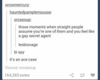 secret agent: snowmercury:  hauntedpamplemousse:  OrCaSO up.  those moments when straight people  assume you're one of them and you feel like  a gay secret agent  lesbionage  bi spy  it's an ace case  Source: orcasoup  164,283 notes