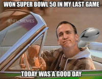 Peyton Manning riding off into the sunset: WON SUPER BOWL 50 IN MY LASTGAME  CONF  EMES  TODAY WASA GOOD DAY Peyton Manning riding off into the sunset