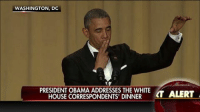 WASHINGTON, DC  PRESIDENT OBAMA ADDRESSES THE WHITE  HOUSE CORRESPONDENTS' DINNER  LT ALERT WATCH: President Obama drops the mic on his last ‪#‎WHCD‬ as president.