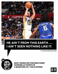 Nick Young, Sports, and Stephen: 108  ARR  HE AIN'T FROM THIS EARTH  IAIN'T SEEN NOTHING LIKE IT.  H/T NBC SPORTS BAY AREA  NICK YOUNG ON STEPHEN CURRY  SCORING 45 POINTS IN  3 QUARTERS VS. THE CLIPPERS Steph is just different.
