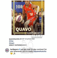Ballerific Comment Creepin 🌾👀🌾 LAClippers commentcreepin: 108  QUAVO  CELEBRITY GAME MVP  BALLERALERT.COM  quavohuncho M V P HUNCHO  @nba  @espn  GREAT EXPERIENCE!!!!  aclippers # we got that 10 day contract for  you whenever you're ready @quavohuncho Ballerific Comment Creepin 🌾👀🌾 LAClippers commentcreepin