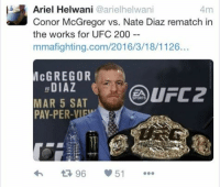Wow..... -JmigPoor Frankie.: lb Ariel Helwani @arielhelwani  4m  Conor McGregor vs. Nate Diaz rematch in  the works for UFC 200  mmafighting.com/2016/3/18/1126...  McGREGOR  DIAZ  UFC 2  MAR 5 SAT  51  96 Wow..... -JmigPoor Frankie.