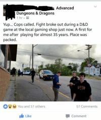 The first rule of Game Night is to not talk about Game Night... The second rule of Game Night is TO NOT TALK ABOUT GAME NIGHT! Shared from https://www.facebook.com/groups/804025512986018/: Advanced  Dungeons & Dragons  1 hr  Yup... Cops called. Fight broke out during a D&D  game at the local gaming shop just now. A first for  me after playing for almost 35 years. Place was  packed  O You and 51 others  57 Comments  I Like  Comment The first rule of Game Night is to not talk about Game Night... The second rule of Game Night is TO NOT TALK ABOUT GAME NIGHT! Shared from https://www.facebook.com/groups/804025512986018/