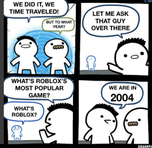 *time travel intensifies*: 10E  WE DID IT, WE  TIME TRAVELED!  LET ME ASK  THAT GUY  BUT TO WHAT  OVER THERE  YEAR?  WHAT'S ROBLOX'S  MOST POPULAR  WE ARE IN  GAME?  2004  WHAT'S  ROBLOX?  SRGRAFC *time travel intensifies*