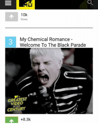 GUYS!! WELCOME TO THE BLACK PARADE IS IN THIRD PLACE FOR MTV'S GREATEST VIDEO OF THE CENTURY!! PLEASE GO VOTE FOR IT ON MTV.COM!! Link in my bio to vote: 10k  Votes  My Chemical Romance  Welcome To The Black Parade  GREATEST  vs  CENTURY  +8.3k GUYS!! WELCOME TO THE BLACK PARADE IS IN THIRD PLACE FOR MTV'S GREATEST VIDEO OF THE CENTURY!! PLEASE GO VOTE FOR IT ON MTV.COM!! Link in my bio to vote