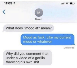 "Af, Mood, and Shit: 11:09  Mom  What does ""mood af"" mean?  Mood as fuck. Like my current  mood or whatever  Delivered  Why did you comment that  under a video of a gorilla  throwing his own shit  M"