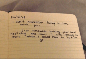 inst: 11/12/14  i don't remember falling in love  with you  inst remember holding your hand  eali zing how much t was going to  urt when I would have to let it  O.